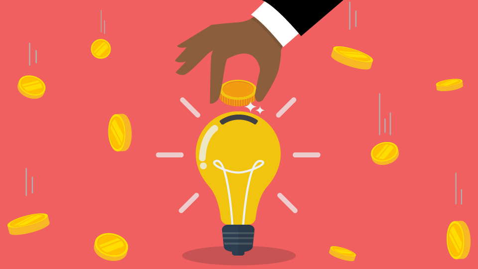 An illustration of a hand dropping a coin into a lightbulb, symbolizing investment in ideas. Coins are falling in the background against a pink backdrop.