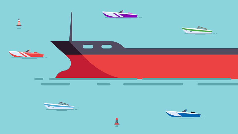An illustration of an oil tanker surrounded by smaller speedboats on a blue background.