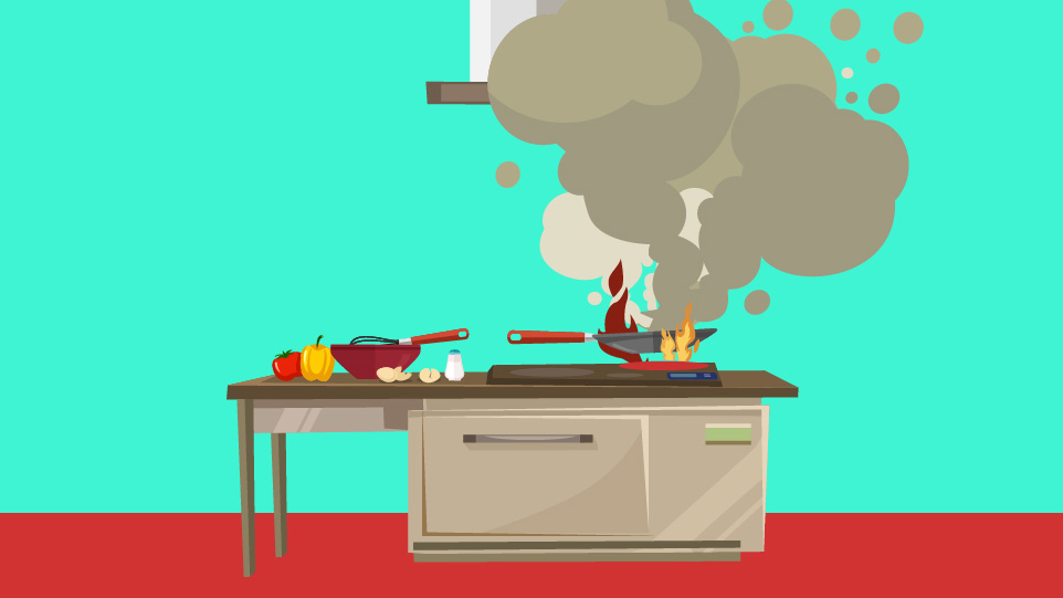 An illustration of a kitchen with the pan on fire.