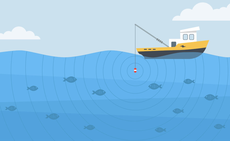 An illustration of a fishing boat attracting fish beneath the waves.