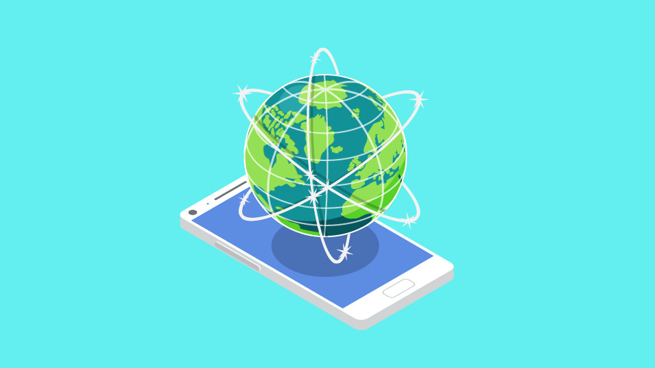 An illustration of a cell phone with a globe hovering over it, against a blue background.