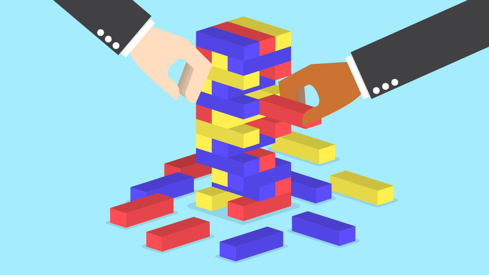 An illustration of two hands reaching for blocks in a Jenga tower.