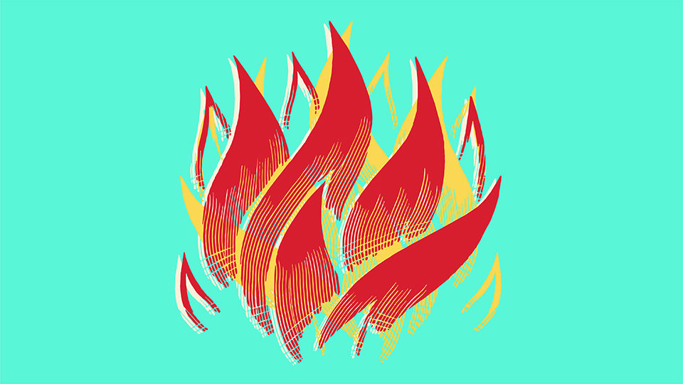 An illustration of fire on a bright green background.