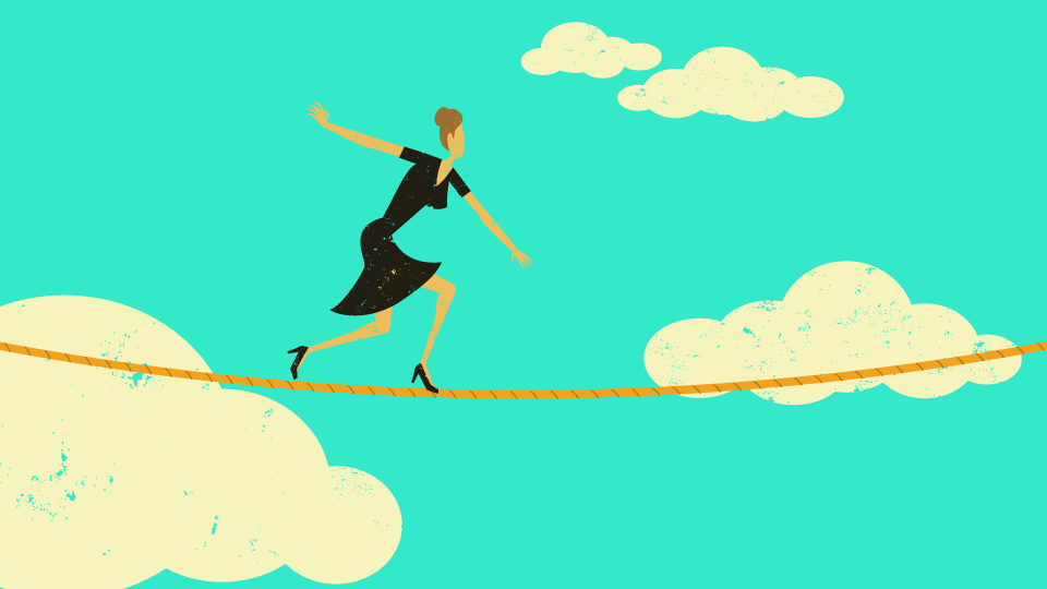 An illustration of a woman walking on a tightrope with clouds behind her.