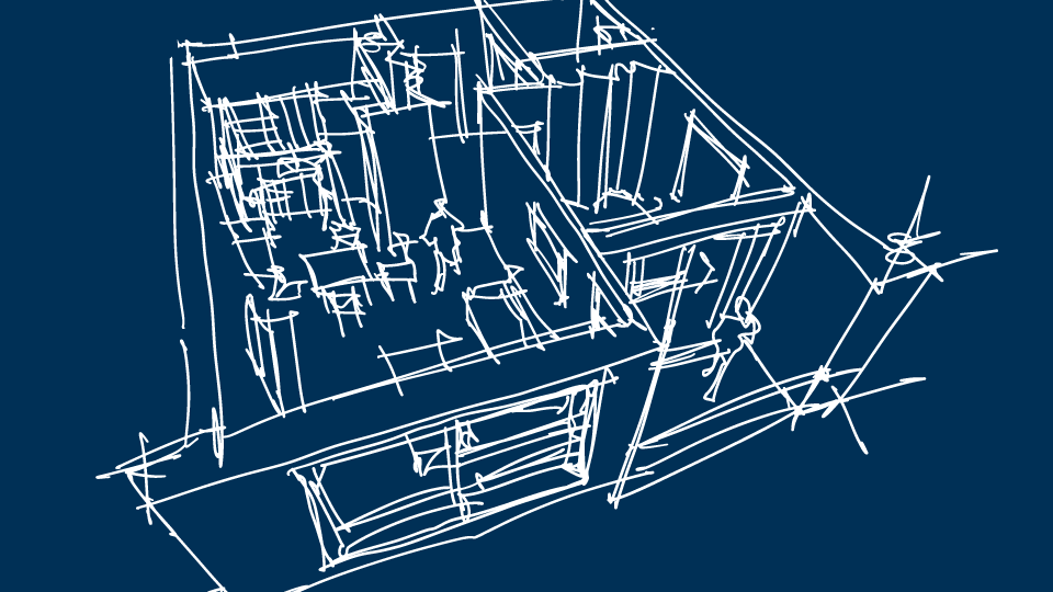 A sketch of an apartment on a blue background, similar to a blueprint.