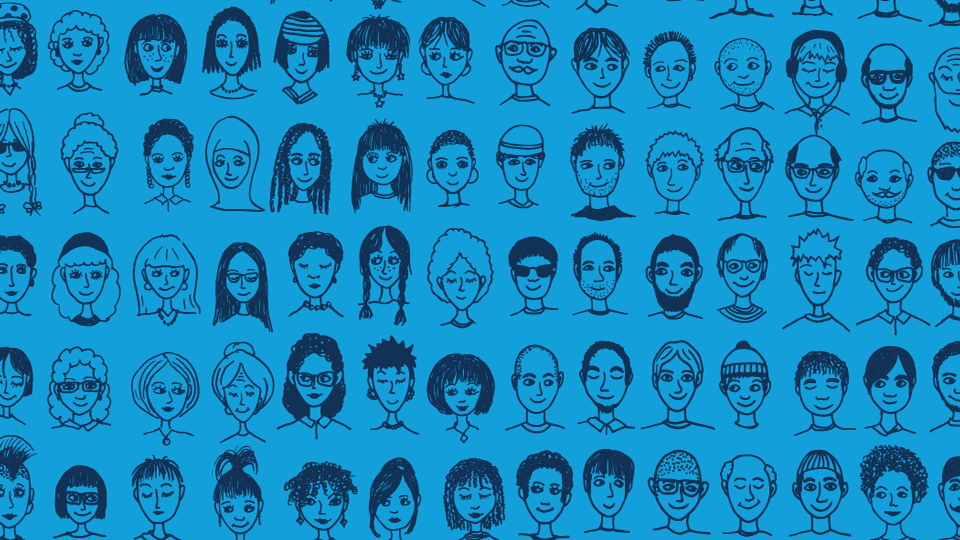 An illustration of various faces against a blue background.