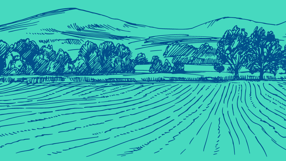 An illustration of a farm with fields in the foreground, trees in the midground, and hills in the background.