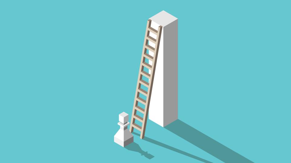 Chess piece climbing a ladder