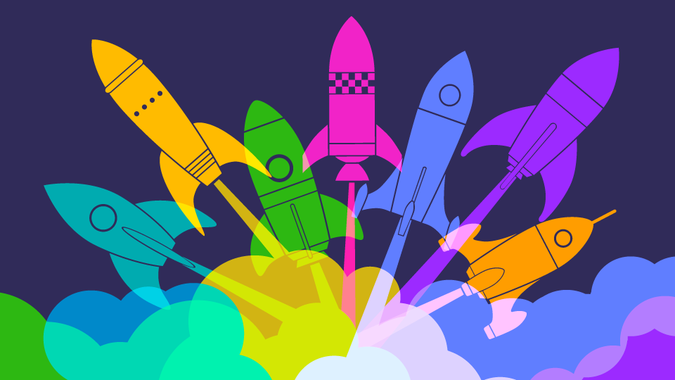 Colorful Rockets Taking Off
